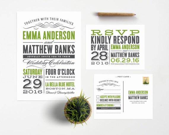 Old Fashioned Wedding Invitation & RSVP