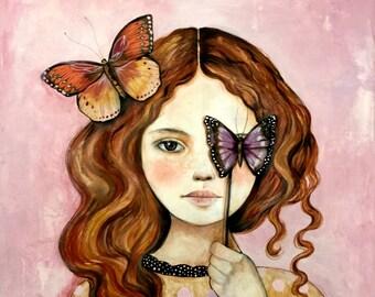 Original Art Carlotta with butterflies
