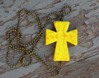 Howlite stone necklace cross yellow calming stress relief southwest cowgirl chakra healing christian bohemian gypsy metaphysical healing