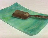 AQUA LIME PEARL Spoon Rest Teabag Holder Fused Glass Plate AL4