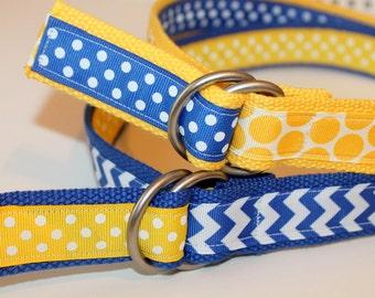 "Royal Blue and Yellow Ladies Belt Ribbon Belt Ladies D Ring Chevron Belt Preppy Belt Nautical D Ring Belt Teen Belt Beach Belt 1.25"" Wide"