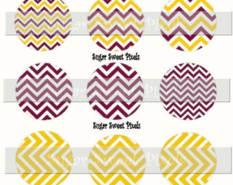 INSTANT DOWNLOAD Maroon &  gold yellow  Chevron blank   1inch Circle Bottlecap Images 4x6 sheet