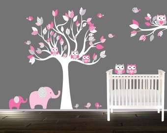 Owl Wall decals, Childrens Nursery tree decal, Vinyl Wall art
