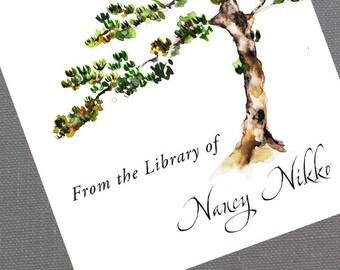 Zen Bonsai Japanese Pine Asian Bookplate Personalized - Set of 24