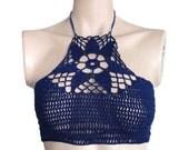 Halter Top/Crochet Halter Top/Swimwear/Halter Bikini Top/Sexy  Top/Navy Blue Bikini/ Crochet Bathing suit/Crochet Bikini/Lace Crochet Top