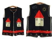 Vintage Home Vest,Vintage 85s Thanksgiving Navy Blue Sweater Vest, Medium,Hand Embroidered,Womens Vest,Holiday Vest,Womens Vest,Waist Coat,