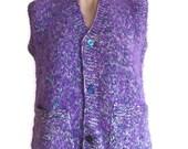 Women's 70s Vest Purple Woollen Vintage Sweater Vest Button Front Knit Sweater  Pockets Everyday Vest 70s Chunky Knit Sweater medium Large