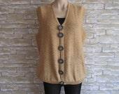 Vintage Vest, Hand-knitted Vest, Acrylic Vest, Beige with Big Buttons, Grandmother Vest, Large Boho Vest, Ethnic Vest, Waistcoat,Unisex Vest