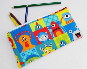 Monster Blocks fabric print Pencil Case/ Crayon Case/Makeup Bag/ Cosmetic Case/Ready to ship