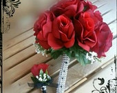 RESERVED for qLR2b Red black silk Roses bridal bridesmaid bouquet Wedding Bridal flowers 7pc set