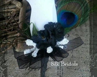 White black PEACOCK feather Boutonniere rose Groom groomsman bridal silk wedding flowers father grandfather