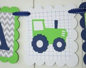 It's a Boy Banner, Boy Banner, Tractor Banner, Tractor Baby Shower, Tractor Nursery Banner, Tractor Banner, Gray, Navy Blue and Lime Green