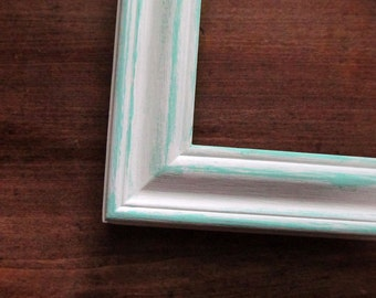 Distressed white and aqua frame - 10x13