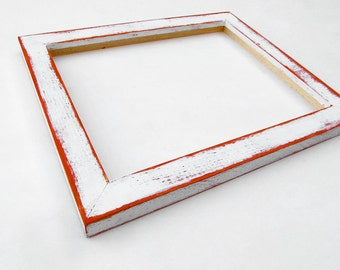 8x10 white frame - distressed white and orange picture frame, cool frame, unique frame