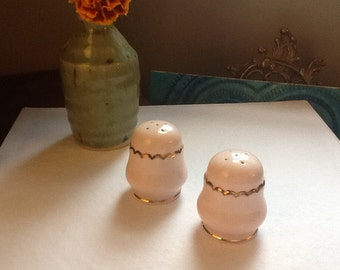 Antique Denton Bone China Salt and Pepper Shakers Genuine Gold Trim Pale Pink England