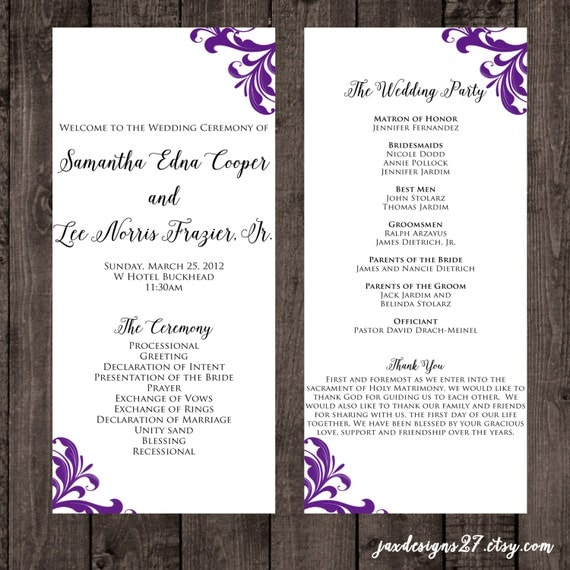 Wedding Program Template Wedding Programs Tea Length