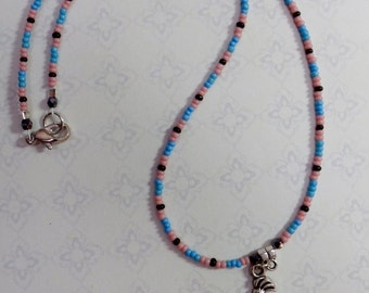 Kokopelli Necklace With Glass Seed Beads And Crystals 16 Inches Long,