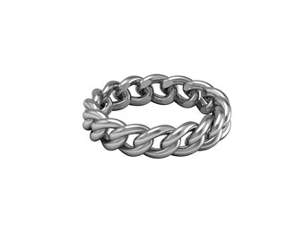 Chain Link Ring Solid White Yellow Rose Gold 5mm wide | made to order for you within 5-7 business days