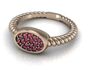 Twisted Knot Ruby Emerald Blue Yellow Pink Sapphire Ring in 14k Rose Gold | made to order for you within 5-7 business days