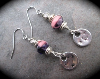 Wire Wrapped Pink and Purple swirl Earrings with Stainless Steel ear wires  and Hammered Silver Disk Detail Great Gift