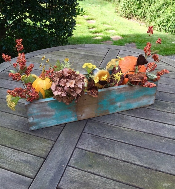 Table trough centerpiece runner wood boxcaddy bin