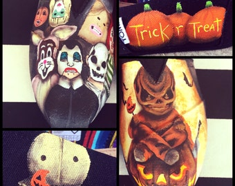 HALLOWEEN - Trick R Treat detailed Custom Mismatched Vans (Choose your movie!)