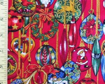 Robert Kaufman,Christmas Cotton Fabric, Christmas Ornaments on Red, 1 yard quilt fabric