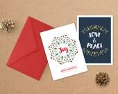 Set of 2 Printable Christmas Cards, Happy Holidays, Love and Peace, Christmas Card PDFs, Printable Holiday Cards, 2-Pack Printable Cards