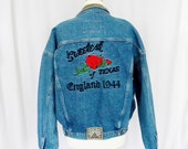 Avirex Denim Jacket, Sweetest Rose of Texas, Cowboys of the Sky, England 1944, Mens Size Large