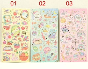 Paper Deco Sticker - Pluie douce series - Fairy Tale Props - Snow White Little Mermaid and Cinderalla for choice - 1 Sheet