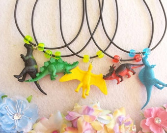 10 Dinosaur Necklaces Party Favors or cupcake toppers