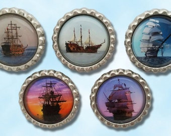 coastal living, sailing ships, nautical theme, ocean view, pirate ship magnets, bottle cap magnets, pirate party favor, ship collectable