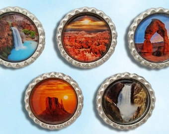 national parks, Arches, Bryce, Havasupai falls, Yellowstone and Canyon lands. bottle cap magnets