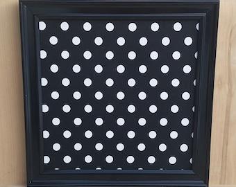 memo board,black with white polka-dot, fabric magnet board