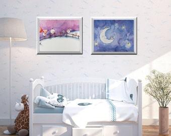 Counting Sheep and Moon Nursery Set | Illustration | Art Print | Nursery Art | Nursery Decor | Night Sky | Purple | Dream | Wall Art