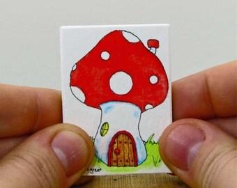 Red Mushroom Fairy Door Painting | Gnome Door | Gnome Home | Gnome House | Tiny Door Wall Decor | Miniature Art | Toadstool Whimsical Art