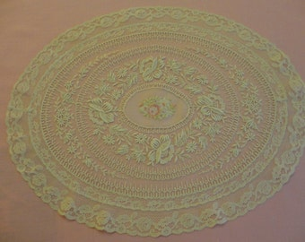 Vintage Doily - Gorgeous machine made cream color fine net with scalloped edge, embossed patterns & flowers, hand petit point flower cluster