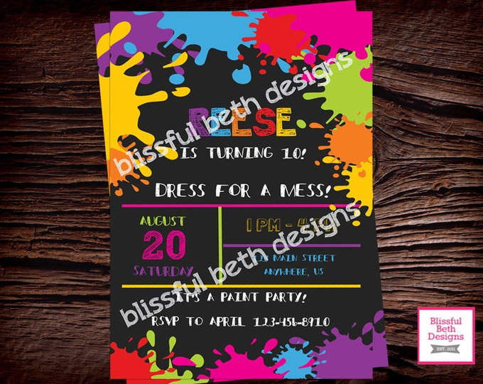 Art Birthday Party Invitation / Art Party Invitation / Messy Birthday / Paint Ball Party / Kids Birthday Party Invitation / Art Party