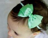 Baby Mint Emma Bow Clip OR Headband - Flower Girl Headband - Baby Satin Bow - Girls Satin Bow - Bun Hair Bow - Baby to Adult Headband