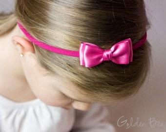 Hot Pink Olivia Baby Bow Headband - Flower Girl - Girls Headband - Hot Pink Olivia Satin Bow Handmade Headband - Baby to Adult Headband