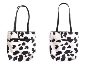 Vintage 1990's Purse l Cow Print Hand Bag l Vintage Bag