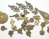 DeStash Lot of Antiqued Brass Charms Drops and Dangles
