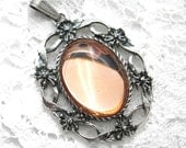 Rosaline Glass Antiqued Silver Pendant