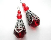 Ruby Red Glass Bead Pendants Charms Dangles Antiqued Silver
