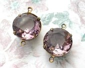 Two Pieces - 15mm Round Light Amethyst Glass Jewels in Brass Connector Settings