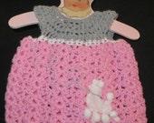 """18"""" Crochet Doll Dress - Poodle Skirt"""