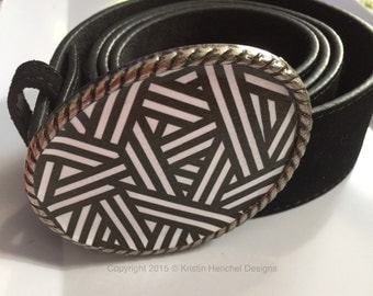 Kristin Henchel belt buckle - Black and White Print