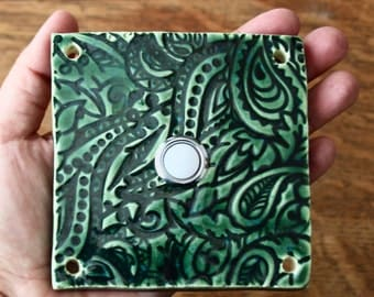 Doorbell Button Tile - Door Bell Plate Cover - Custom Color Choice - Red Blue Green Yellow Orange Black White Brown - Made to Order