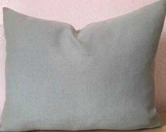 CUSTOM ORDER sizes in peppermint green duckegg very pale blue green RECTANGLE cushion cover lumber pillow sham in Romo Linara union linen