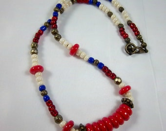Americana Necklace, 4th of July, Red, Cream and Blue Necklace, Patriotic Jewelry, Shorter Style, Seed Beads